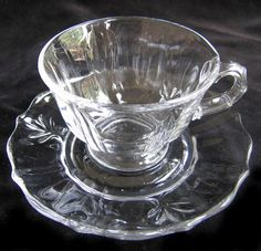 Fostoria Baroque Coffee Cups Saucers 6 Sets Vintage by charmings