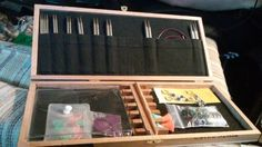Cigar box repurposed as a case for interchangeable knitting needle set by Ravelry user amiishar