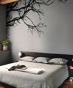 "Tree Top Branches in a Vinyl Wall Decal Sticker by Stickerbrand (measures 100"" W x 44"" H) - looks amazing on the gray wall!"