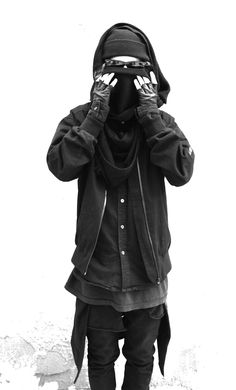 ★ ★ ★ ★ ★ five stars (black button down, long black tee, black scarf around the back belt loops, black hooded jacket, black cowl scarf, black beanie, black fingerless gloves, black sunglasses, black skinny jeans)