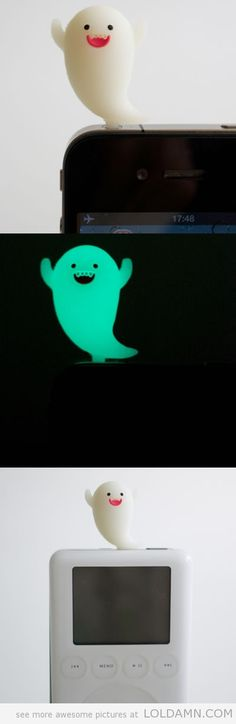 iBoo for iPhone: not only does he look cute draped in white sheets in the day, but will also glow at night so you can find your iPhone phone easily without feeling around and possibly causing your phone to drop from the table in the process.