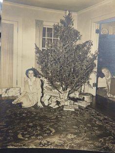 Vintage Black & White Christmas Tree Lady Photo Snap Shot Photograph Presents