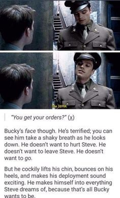 ''He makes himself into everything Steve dreams of, because that's all Bucky wants to be.'' / Bucky Barnes & Steve Rogers << (Bucky looks hella hot in that last gif) BUT STOP GIVING ME STUCKY FEELS Marvel Jokes, Marvel Funny, Sebastian Stan, Marvel Avengers, Marvel Comics, Marvel Gems, Fandoms, Fangirl, Captain America And Bucky