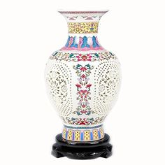 ufengkeJingdezhen Pastel Double Hollow Vase >>> Read more at the image link. (This is an affiliate link) #Vases