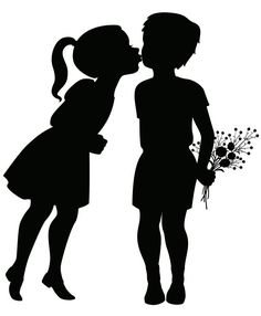 Vector silhouette illustration of a little girl leaning over to kiss. Wolf Silhouette, Silhouette Cameo, Silhouette Design, Hirsch Silhouette, Vogel Silhouette, Snowflake Silhouette, Dragon Silhouette, Princess Silhouette, Couple Silhouette