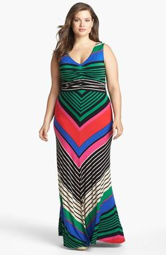 FELICITY & COCO Stripe Jersey Maxi Dress (Plus Size) (Nordstrom Exclusive) available at #Nordstrom