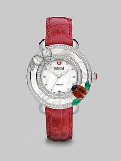 Michele Watches Cloette Diamond Accented Mother-Of-Pearl Ladybug Watch-a wittle bug!