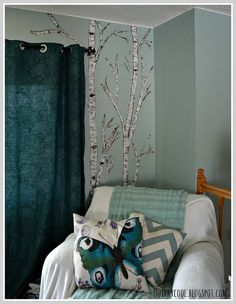 A Birch Tree Mural on a Gloomy Day... :: Hometalk  my color choices would be different   but i like!