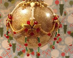 Ornament Cover Pattern Christmas Ornament Starflakes Gold by Shae Wilhite Beaded Ornament Pattern Stars Snowflakes Crystals Kite Bead