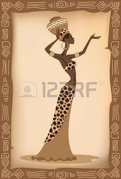 Ilustraci�n vectorial de la mujer africana. photo                                                                                                                                                                                 Más