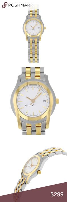 Gucci women's Watch This pre-owned Gucci is a beautiful Womens timepiece that is powered by a quartz movement which is cased in a stainless steel case. It has a round shape face, date dial and has hand sticks style markers. It is completed with a stainless steel band that opens and closes with a push button double foulder. This watch comes with a gift box and no original papers are supplied. Wrist fit 7 inch Gucci Accessories Watches