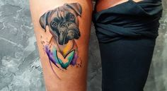 Esta aquarela boxer tatuagem