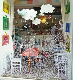 Henry et Henriette. Window drawings like this can be done with liquid chalk markers! Cafe Window, Window Mural, Window Decals, Painted Window Art, Window Paint, Hand Painted, Deco Cafe, Liquid Chalk Pens, Chalk Markers
