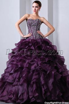 1st-dress.com Offers High Quality Beaded Pretty Purple Sweetheart Organza Ruffled fiesta de quince años Dress,Priced At Only US$259.00 (Free Shipping)