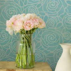 Rockin' Roses Damask has a really fresh feel. Lovin' the teal background but would also be nice with a subtle tone-on-tone in French blues or even pinks and purples for a little girl's room! Lovely!