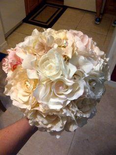 My DIY Bridal Bouquet... with my Grandmothers Brooch :  wedding diy flowers Bouquet