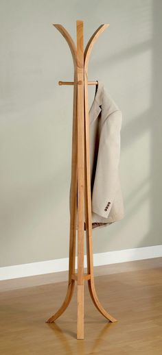 Entryway Hall Tree Coat Rack With Four Hangers In Solid Oak Wood Finish. (Item# Vista Furniture CF900815) to be located in dining room corner