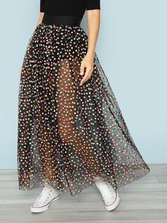 Sexy A Line Polka Dot Flared High Waist Black Maxi Length Polka Dot Tulle Skirt with Lining Pretty Outfits, Cute Outfits, Casual Outfits, Dress Outfits, Emo Outfits, Girls Fashion Clothes, Fashion Dresses, Dress Skirt, Dress Up