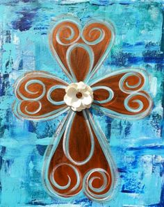 I really like the 3d flower Cross Paintings, Easy Paintings, Canvas Paintings, Christian Paintings, Christian Art, Pottery Painting, Diy Painting, Bible Verse Painting, Diy Canvas