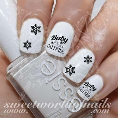 Christmas Nail Art Baby it's Cold Outside snowflakes Nail water decals https://www.sweetworldofnails.com