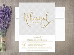 Rehearsal Dinner invitation by RockPaperDove featuring Cantoni Pro Hand Lettered font by Debi Sementelli.