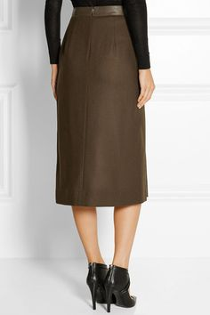 Jason Wu | Croc-effect leather and wool midi skirt | NET-A-PORTER.COM