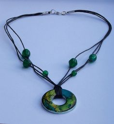 Green Beaded Alcohol Ink Washer Pendant Necklace