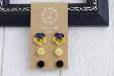 Purple Yellow Black Ranunculus Pancies Stud Earrings Set Wholesale Small Hypoallergenic Handmade Studs Wedding Birthday Gifts Earrings by eteniren. Explore more products on http://eteniren.etsy.com