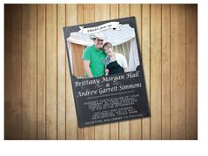 Simply Elegant Chalkboard Style Wedding Invitation with Engagment Photo, PRINTABLE Invitation