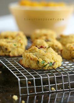 Pumpkin, Bacon & Chive Coconut Flour Biscuits, UrbanPoser (pumpkin puree, coconut flour, baking soda, coconut oil, apple cider vinegar, eggs, green onions, shallots/onion, bacon)   [Paleo] [Gluten Free]
