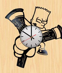 Bart Simpsons Handmade Vinyl Record Wall Clock Fan Gift
