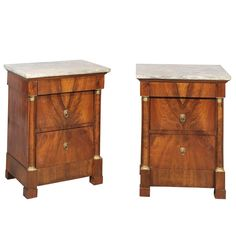 Pair of Bedside Empire Walnut Commodes with Grey Marble Tops | From a unique collection of antique and modern night stands at https://www.1stdibs.com/furniture/tables/night-stands/
