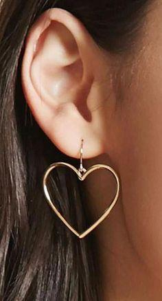 Forever Heart Hoop Drop Earrings in Gold - Cute Elegant Heart Hoop Dangle Earrings for Teens Unique Statement Jewelry Simple Ear Piercings – - Bar Stud Earrings, Cute Earrings, Gold Hoop Earrings, Heart Earrings, Earings Dangle, Simple Earrings, Earrings For Women, Platinum Earrings, Jewellery Earrings