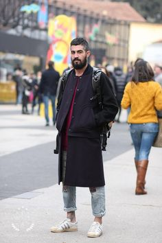 Levi's 501 sneakers coat hair beard tumblr Style