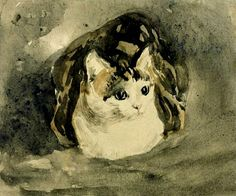 The Cat - Gwen John, c Post Impressionism. Gwen John adored her cats and dipicted them frequently. This one is a tortoiseshell named Edgar Quiinet and appears in most of her cat drawings, sometimes with her kittens. Cat Drawing, Painting & Drawing, Gwen John, Mary John, Art Aquarelle, Tate Gallery, Photo Chat, Guache, Post Impressionism