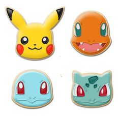 This Pokémon Cookie Cutter Starter Set includes the four Kanto starters. You get Bulbasaur, Squirtle, Charmander, and Pikachu. Now bake some cookies and enjoy. Pokemon Themed Party, Pokemon Birthday Cake, Pokemon Cupcakes, Tates Cookies, Cupcake Cookies, Sugar Cookies, Owl Cookies, Pikachu, Pokemon Merchandise