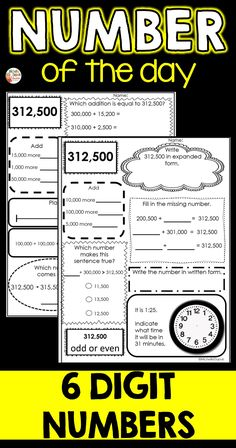 Number of the Day is such a fun way to practice number sense. This resource includes six digit practice worksheets. I have included two worksheets for each number. These can be used individually or copied on both sides of one page. Primary Classroom, Classroom Ideas, Teaching French, Number Sense, First Page, Educational Activities, Teaching Tips, Task Cards, Classroom Management
