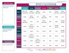 Printable PiYo Calendar and Workout Schedule for both the basic program and PiYo Strength. Use the planner to set goals, discovery motivation and plan rewards!