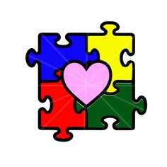 Autism Puzzle Piece with Heart