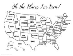 13 Free Printable USA travel maps - United States coloring pages to add in your bullet journal, travel notebook or planner. map 13 Free Printable USA Travel Maps for your Bullet Journal - USA Map Coloring Pages - Lovely Planner