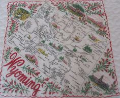 Wyoming state map + red indian paintbrush [handkerchief / scarf]