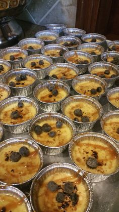 Mini Creme Brulee topped with Blueberries!  www.twofatmencatering.com