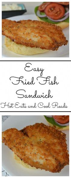 Easy Fried Fish Sandwich Recipe Need an easy dinner? This recipe is for you! Crispy, golden fried fish fillets on a bun with your favorite toppings! Easy Fried Fish Sandwich Recipe from Hot Eats and Cool Reads Fish Dishes, Seafood Dishes, Seafood Recipes, Great Recipes, Cooking Recipes, Favorite Recipes, Cooking Fish, Easy Recipes, Main Dishes