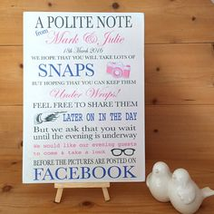 Unplugged Wedding Sign Customise and personalise table plaque Facebook notice