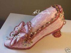 Victorian Chic Pin Cushion Pincushion Shoe Pink Lace   eBay