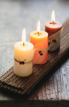 `Large candles and burlap or candles on old wood. could take apart and clean up old pallets for the wood for free.