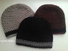 Free crochet pattern for a mens size beanie hat using chunky yarn.