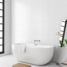 Laura Ashley white satin field white wall tile x Cheap Bathroom Tiles, White Bathroom Tiles, Cheap Bathrooms, Bathroom Wall, Bathroom Ideas, Downstairs Bathroom, Bathroom Inspo, Bathroom Interior, Beach Bathrooms