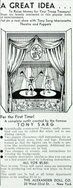 1934 Ad Alexander Doll Tony Sarg Marionette Theater Puppets Boy Scout YBSA1