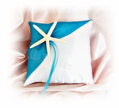 Beach wedding starfish ring pillow turquoise by All4Brides on Etsy